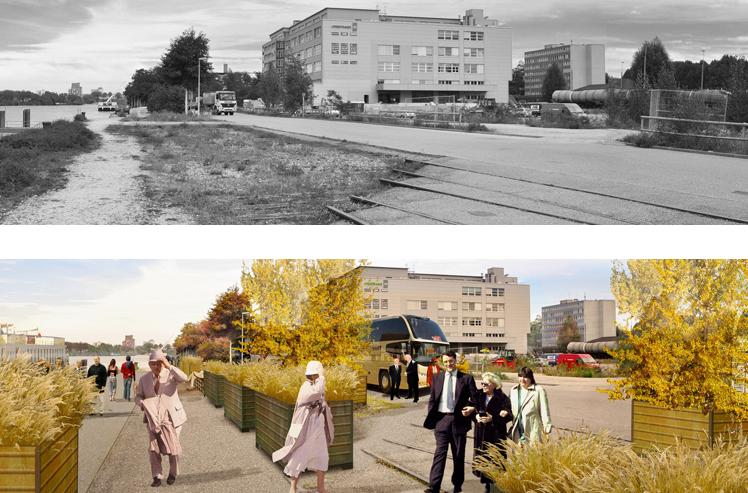 Klybeckquai, Visualisierung Bestand / Planung Promenade / Schiffanlegesteg